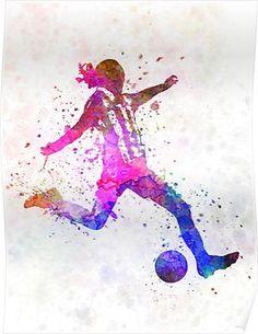 'Girl playing soccer football player silhouette' Poster by paulrommer - Futebol - Soccer Room, Soccer Art, Soccer Poster, Play Soccer, Soccer Practice, Soccer Games, Football Girls, Girls Soccer, Football Soccer