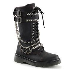 Womens RIVAL-315 Studded Combat Boots by Demonia.  Womens gothic combat boots with pyramid studded straps and detatchable chain detail.  Demonia Womens RIVAL-315 Studded Gothic Combat Boots.
