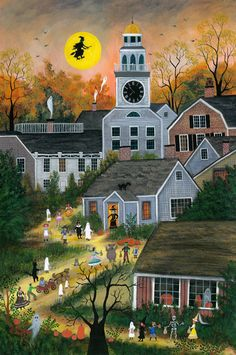 """Jan L. Munro (21st Century Folk Artist) Mixed Media on Rag Paper, """"Halloween on Orange Street"""", signed lower left. 21 in. x 15 in. Munro's paintings are in many public and private collections including the Nantucket Historical Association, Cahoon Museum of American Art, John and Catherine T. Macarthur Foundation, Museum of American Folk Art, Smucker's Inc., Tropicana Inc., Beach Boys, to name a few."""