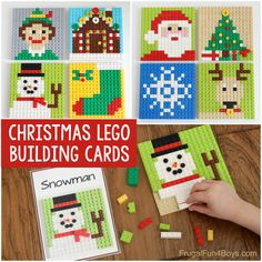 Set up a Christmas LEGO building station with these printable building cards! There are 8 Christmas LEGO ideas to build. Uses basic bricks. Christmas Mosaics, Lego Christmas, Christmas Tree, Christmas Presents, Christmas Ideas, Christmas Decorations, Lego Design, Holiday Crafts, Holiday Fun