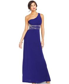 Hailey Logan by Adrianna Papell Juniors' One-Shoulder Gown - Juniors Prom Preview - Macy's - LOVE