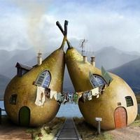 """""""Twin Pears House"""" - fantasy photo-manipulation illustration by Cristal Reza Crazy Houses, Houses Houses, Mini Houses, Tree Houses, Unusual Buildings, Interesting Buildings, Unusual Homes, Unusual Art, Unusual Things"""