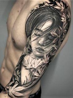Geisha Sleeve by Geisha Tattoos, Tatoo Geisha, Geisha Tattoo Sleeve, Japanese Geisha Tattoo, Geisha Tattoo Design, Dragon Sleeve Tattoos, Japanese Sleeve Tattoos, Best Sleeve Tattoos, Leg Tattoos