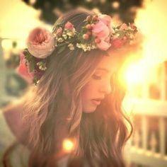 couronne, fleur, fille
