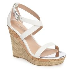 Women's Charles By Charles David Aden Platform Wedge Sandal ($99) ❤ liked on Polyvore featuring shoes, sandals, white leather, wedge heel sandals, wedge shoes, white wedge sandals, strappy sandals and leather sandals