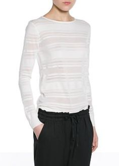 Pull-over rayures transparentes