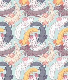 """honneeb: """" psittacosaurus: """" axolotl pattern!!!! feel free to use… but if you use it somewhere public it'd be nice if you credited me :'^ """" fucking YES """""""