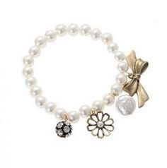 Elegant Pearl Beads Strand Charm Bracelet