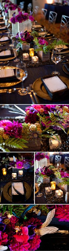 wedding at the four seasons santa barbara - For the head table, I made a runner out of black river rock to reference how the bower bird collects items to decorate his bower. Containers were a mix of metallics and wood. Local jewel tone dahlias were mixed with anemones, orchids, scabiosa pods, moss, and leather fern. - Kelly Ochiro Designs 10/22/12