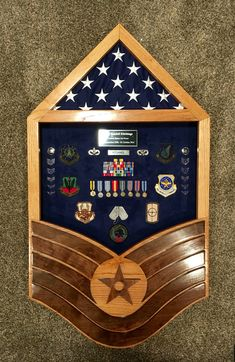 Custom solid oak and walnut Air Force TSgt Stripe shadow box.  $275.  If you are interested in a custom military shadow box, contact Tom @ jenkswood@gmail.com or 719-359-0361