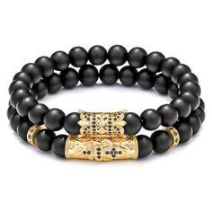 Men Lion Head Crown Bracelets 8mm Beads Cuff Charm Bangle Bracelet Jewelry MC