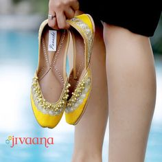 Put a unique touch on your outfit by pairing it with our jutti mojari. Choose from dozens of colors for your shoes for women online. Shop online for Yellow Juttis - Yellow Leather With Ghungroo from Wedding Shoes Bride, Bride Shoes, Desi Wedding, Indian Shoes, Kurti Designs Party Wear, Yellow Leather, Women's Feet, Dress With Boots, Fashion Shoes