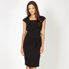 Petite Black Asymmetric Tuck Detail Work Dress