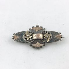ANTIQUE STERLING SILVER w/ROSE GOLD BROOCH