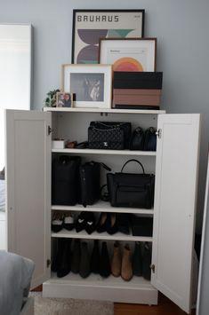 Where I Shop - whatveewore Celine Cabas Tote, Celine Belt Bag, Small Closet Organization, Handbag Organization, Tiny Closet, Closet Space, Small Cupboard, Chanel Classic Flap, Types Of Bag