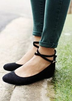 black ankle strap flats