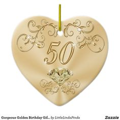 Beautiful Golden 50th birthday presents for her. Golden Birthday Ornaments. CLICK: http://www.zazzle.com/gorgeous_golden_birthday_gifts_for_her_ornaments-175277672533043192?CMPN=shareicon&lang=en&social=true&view=113567260158911020&rf=238147997806552929 Call Zazzle Designer Linda to make Color, Year, Design CHANGES, Personalized or Not: 50th Wedding Anniversary Presents. 239-949-9090 More Personalized Golden Birthday Gifts HERE…