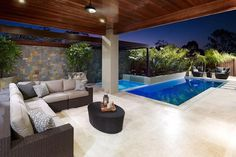 Having a pool sounds awesome especially if you are working with the best backyard pool landscaping ideas there is. How you design a proper backyard with a pool matters. Indoor Outdoor Living, Outdoor Areas, Outdoor Rooms, Outdoor Lounge, Swimming Pool Designs, Swimming Pools, Patio Design, House Design, Patio Interior