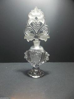 "Vintage CZECH Crystal Perfume Bottle Scent Decanter GRAPES 9.5"""