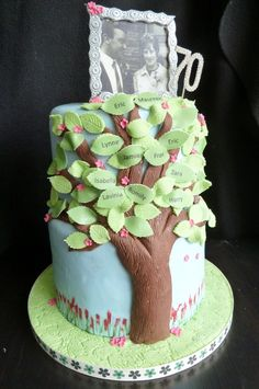 For a family birthday party at the Beehive Pub near Earsdon, with names of the family as leaves. family tree cake