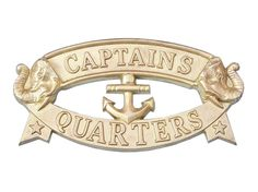 """This beautiful, solid brass """"CAPTAINS QUARTERS"""" sign is sure to be a real eye catcher."""