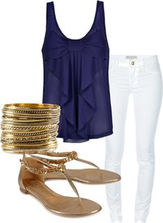 Navy Blue Tank with White Skinnies. Gold Accessories.