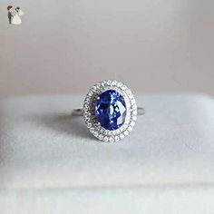3.15 Carat Tanzanite Engagement Ring In 14K White Gold - For the bride something blue (*Amazon Partner-Link)