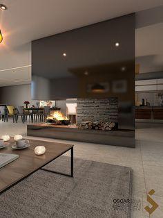 designer homes interior Home Fireplace, Fireplace Design, Home Living Room, Living Room Designs, Living Room Partition, Freestanding Fireplace, Modern House Design, Home Interior Design, Luxury Homes