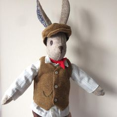 Sewing Luna Lapin & Alfie Rabbit and tips on sewing a flat cap by fabricandflowers Fabric Animals, Felt Animals, Sewing Machines Best, Handmade Soft Toys, Handmade Dolls, Doll Sewing Patterns, Fabric Toys, Christmas Sewing, Sewing Projects For Beginners