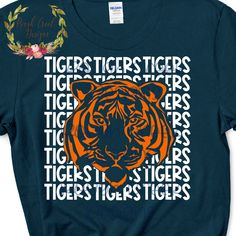 Excited to share this item from my shop: Tiger High School Mascot SVG School Spirit Shirts, School Shirts, High School Mascots, Tiger Shirt, Cheer Shirts, Mascot Design, Create Shirts, Spirit Wear, Elementary Schools