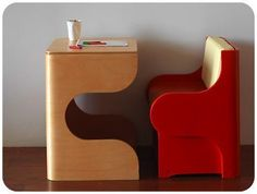 // Desk and chair set. Cool No? If not for your tiny home living area, then how about for a kid's bedroom??