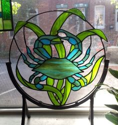 Stained glass panel Blue Crab D-3 by TerrazaStainedGlass on Etsy