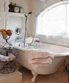 Shabby Chic bathroom.  I want a claw-foot tub like this!
