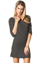 Hilltop Polka Dot Dress in Black