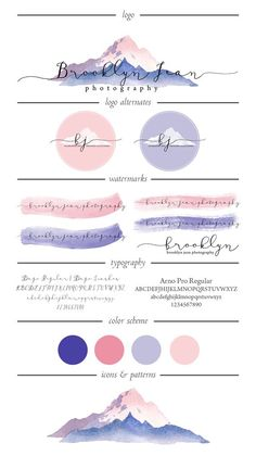 purple pink mountain brooklyn jean photography branding design asset sheet colours icons typography watermarks logo alternatives