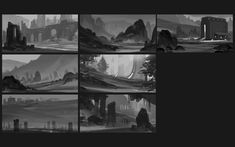 Composition & Shape Thumbnails Pt.2, Ryan Gitter on ArtStation at https://www.artstation.com/artwork/composition-shape-thumbnails-pt-2