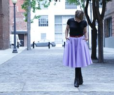 "Fall is upon us. All you need to get by is a good comfortable skirt with places to put your stuff (pockets!).This skirt is made in midi-length, which is the length you will see down the runways and in the stores for Fall. Pantone's color of the season for Fall 2014 is Radiant Orchid. Pantone is alright in my book, so I decided to give the bright color a whirl. I headed straight to my local fabric store and got a medium-weight cotton at 60"" width.For this circle skirt I will go ov..."