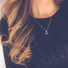 White gold anchor necklace | Simple beach necklace, Minimalist jewelry by AbbeyPark on Etsy https://www.etsy.com/listing/207446880/white-gold-anchor-necklace-simple-beach