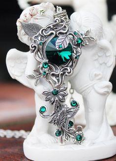 Key necklace, butterfly key, green key, fantasy key, druid key, swarovski necklace, key jewelry