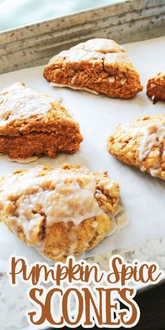 This easy Pumpkin Scones recipe is made with canned pumpkin and is an easy scones recipe with a simple scone glaze for your next brunch or tea party!