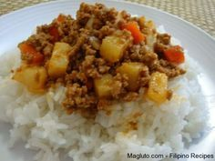 filipino picadillo (add chopped red pepper, raisins/cranberries, tomato paste, sugar, fish sauce?)