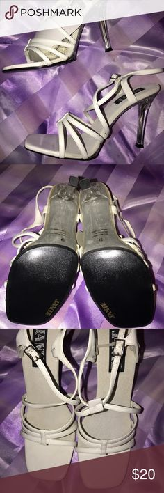 Jante White Patent Leather Sandals, Size 9 White patent leather sandals, with clear acrylic heels. NEVER worn, shoe box included. Comes from a smoke-free, pet free home. Jante Shoes Heels