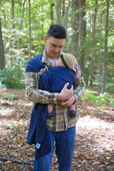 Dad wearing his baby in Sapphire Soul Sling! #soulslings #linenringsling #soullinenseries #babywearingdad