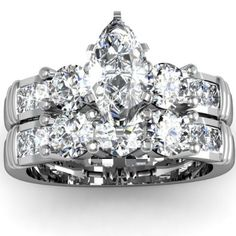 Marquise & Round 3 Stone Diamond Engagement Ring Wedding Set - Unusual Engagement Rings Review