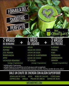¡Fórmula del batido verde perfecto! #smoothies #batidosverdes #comohacersmoothies Drinks Alcohol Recipes, Alcoholic Drinks, Beverages, Smoothies Verdes, Green Smoothies, Vegetarian Recipes, Healthy Recipes, Detox, Healthy Eating