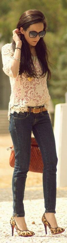 Spring woman fashion | Denim jeans, white lace dress & Prada PR08OS Oval #sunglasses. #style. http://www.smartbuyglasses.com/designer-sunglasses/Prada/Prada-PR08OS-NAI1A1-278348.html