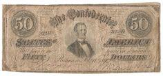 1864 CONFEDERATE STATES OF AMERICA $50 FR CS-66 VERY GOOD FREE US SHIP