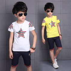 Kids Boys Summer Children New Clothes Suit Short Sleeved Two Piece Kids Clothing Sets Hot White Yellow #Affiliate