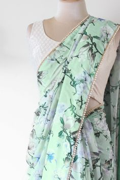 Mint Floral Saree from PoppyLane.ca