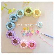 Love Crochet, Crochet Yarn, Crochet Flowers, Crochet Ideas, Colour Schemes, Color Palettes, Color Combinations, Flower Granny Square, Granny Squares